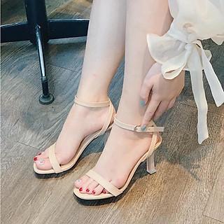 Giày cao gót nữ thời trang, giày sandal nữ hở mũi gót nhọn hình trụ, gót cao 7p form chuẩn 35-40 màu đen