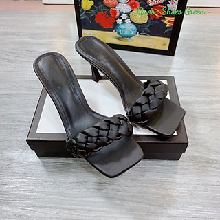 Giày cao gót nữ gót nhọn 7 phân quai tết đan phồng, dép sandal quai tết lót da êm ái kiểu dáng thời trang size 35 đến 39