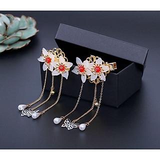Cài tóc cổ trang nữ hoa nhị đỏ thả điệp lục lạc phong cách Trung Quốc tặng ảnh thiết kế Vcone ( 1 chiếc)