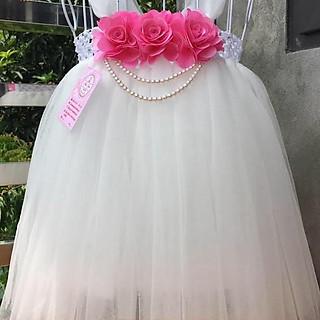 Váy công chúa cho bé Váy công chúa trắng hoa hồng màu hồng cho bé yêu