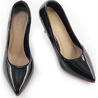 Giày Cao Gót Nữ Bít Mũi Da Trơn Gót Nhọn 7cm