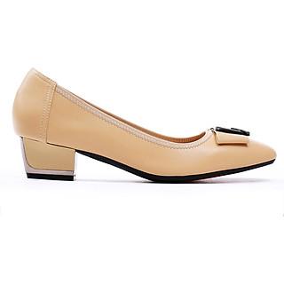 Giày cao gót nữ,cao 3CM, da Microfiber nhập khẩu cao cấp êm ái. Mũi nhọn, gót vuông  vững trãi bọc kim loại bạc sang trọng : BL.P5316-3F