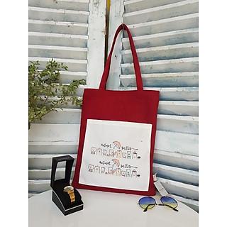Túi tote vải canvas phối túi in hình hoạt hình