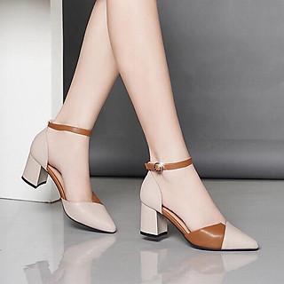 Giày cao gót đúp mũi phối 2 màu