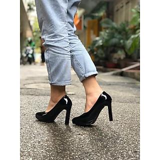 Giày cao gót da bóng 2 màu đế đúp gót trụ nhỏ - 9P