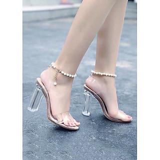 Giày sandanl cao gót trong chuỗi ngọc 9f