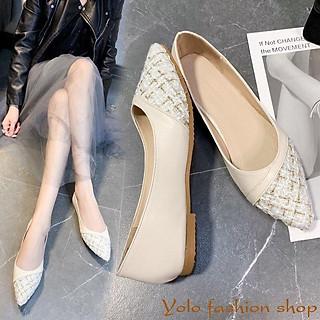 Giày bệt búp bê nữ phối dạ xinh xắn Hàng Quảng Châu cao cấp CC10