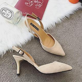 Giày cao gót nữ da lộn, giày gót nhọn bít mũi TRT-GCGNU-04