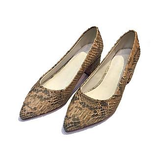 Giày cao gót nữ da trăn nguyên bản xuất dư EU lót bên trong da cừu mềm PythonSr7