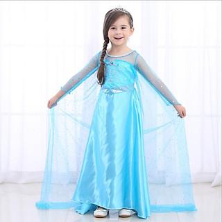 Váy Đầm Công Chúa Elsa Cho Bé Gái Màu Xanh Tay Dài Tà Dài Liền Kèm Phụ Kiện (Gậy + Vương Miện + Đuôi tóc) | HMQ75