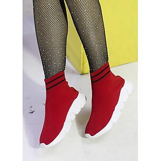 Giày Sneaker Nữ Cổ Cao ,Chất Chun Ôm Chân