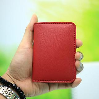 Ví da Mini nam nữ đựng tiền, card nhỏ gọn, thời trang màu Đỏ