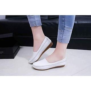 Giày mọi nữ da mềm đế cao su êm chân