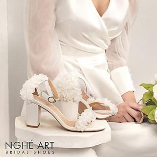 Giày cưới Nghé Art sandal trắng hoa voan 193