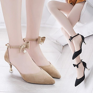Giày cao gót 7 phân, Giày cao gót nữ gót nhọn bít mũi nơ 1 hạt ngọc