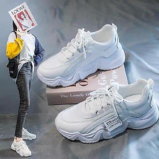 Giày thể thao nữ trắng- Giày sneaker đế cao da đẹp F888 siêu mới nhất 2021