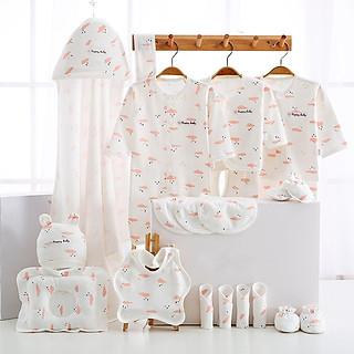 Set đồ sơ sinh cao cấp làm quà tặng cho bé 23 chi tiết coton có hộp, túi đựng