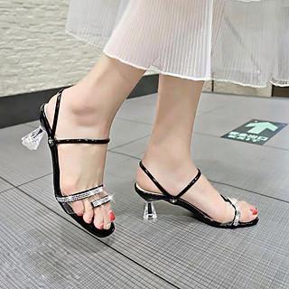 Giày cao gót / Sandal Cao Gót Trong Suốt Đính Đá Nữ Cao Cấp Đế Cách Điệu Cao 7p - CTG9522
