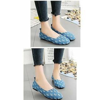 Giày lười nữ vải jean đế bệt