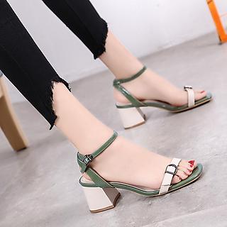 Giày Sandal Nữ Cao Gót Da Mềm Phối Màu Cực Xinh 5 Phân Đế Vuông Trụ Êm Chân Phong Cách Hàn Quốc  CTS-GD