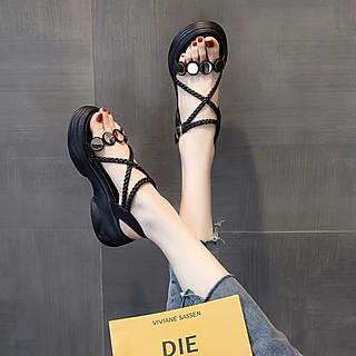 Sandal nữ độn đế quai chéo siêu hot -  Giày sandal nữ đế bánh mì cá tính FS888