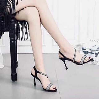 Giày Cao Gót Nữ Quai Kim Tuyến 7cm Gót Nhọn 9017
