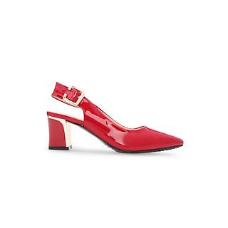 Giày Sandal Nữ Sandal Cao Gót Slingback Gót Trụ Cao 5cm Da Bóng Đế Vuông thương hiệu PABNO PN605