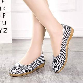 Giày lười nữ đế cao su mềm