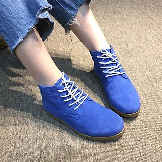 Giày nữ cổ lửng buộc dây đế bằng da lộn màu xanh Mypa thời trang càng đi càng mềm càng đi càng êm chân