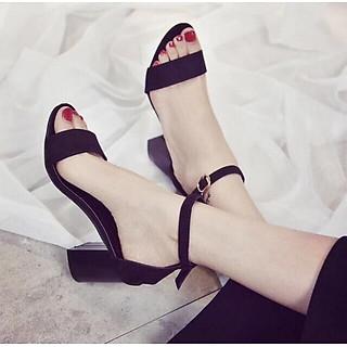 Sandal nữ quai ngang da lộn đế 5p kiểu dáng đơn giản S51
