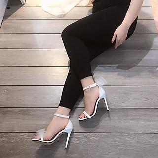 Giày Cao Gót Quai Mảnh Gót Nhọn 9cm Phối Nơ Siêu Hot Kèm tất/vớ da chân
