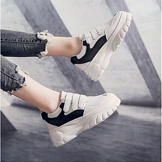 Giày Sneaker Nữ Phối Quai Dán Tăng Chiều Cao 86-1