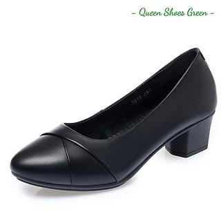 Giày búp bê nữ, giày trung niên nữ gót vuông 4 phân da mềm mũi nhọn hàng VNXK màu đen đế cao su đúc siêu mềm size 36 đến 40 - Viền