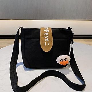 Túi đeo chéo nữ vải canvas xinh xắn có tặng kèm thú bông