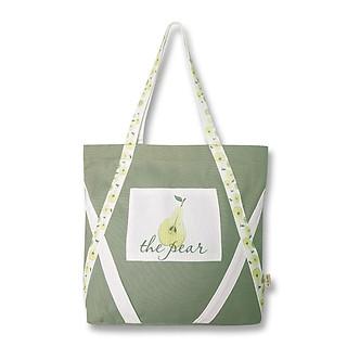 Túi tote đeo vai thời trang Covi in hình quả lê vải canvas màu xanh đậu