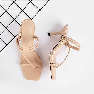 Giày Sandal Zelda Star mũi vuông gót 7cm phối dây chéo - SN011820
