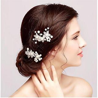 Set 2 cài tóc trâm hoa ngọc trai phụ kiện tóc cô dâu