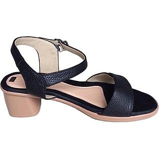 Giày xăng đan nữ quai ngang Trường Hải da bò thật màu  đen gót vuông đế PU siêu nhe  cao 5cm màu đen SDN0741 [HÌNH ẢNH THẬT]