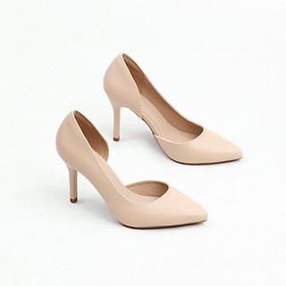 Giày Cao Gót 7cm Gót Nhọn Hở Eo Màu Kem Pixie X693