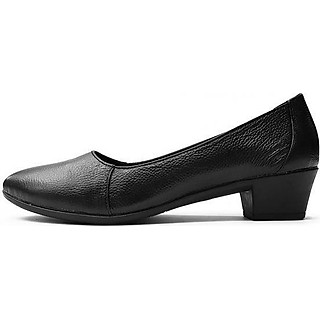 Giày Cao Gót Nữ Đế Vuông Cao 3cm Da Thật Siêu Mềm 3P02DTP (Đen)