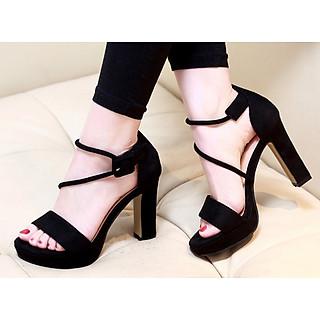 Giày sandal đế vuông 12 phân quai ngang dây xéo S010