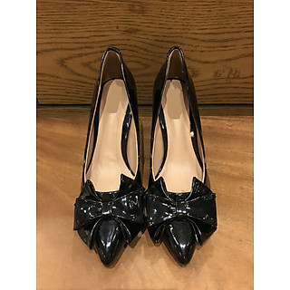 075-Giày cao gót nữ 7cm đính nơ thời trang
