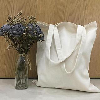 Túi vải canvas trắng kem trơn không khóa kéo