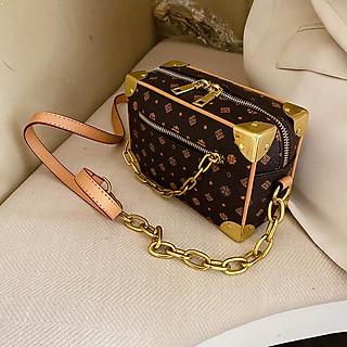 Túi hôp vuông đeo chéo nữ Mini Soft Trunk phối xích