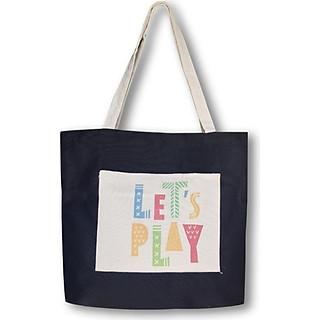 Túi tote đeo vai thời trang Covi in chữ Let's play vải canvas màu đen