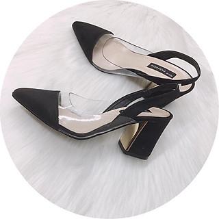 Giày hở gót nữ da mềm đế vuông 5p phối mica siêu xinh GC56