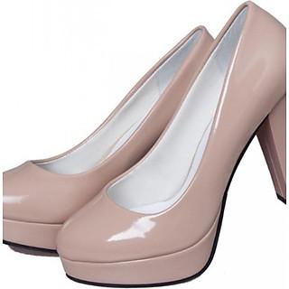 Giày cao gót đế vuông bít mũi da bóng S364