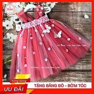 Đầm công chúa cho bé️️ Đầm công chúa hồng cam phối hồng phấn nhạt đính hoa hồng bướm