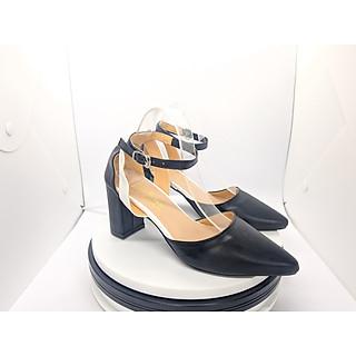 Giày cao gót nữ/ Sandal Cao Gót Nữ Da Mềm Màu Đen Thời Trang Nữ Cao Cấp Phối Màu Đen Trắng Đế Vuông Cao 7 Phân Phong Cách Hàn Quốc YUUNACG140