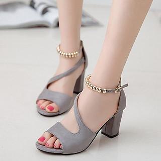 Sandal Hở Mũi Đế Vuông  Quai Chéo Vòng Cổ Hạt Châu CT002